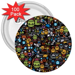 Many Funny Animals 3  Buttons (100 Pack)