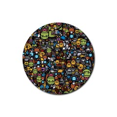 Many Funny Animals Rubber Round Coaster (4 Pack)