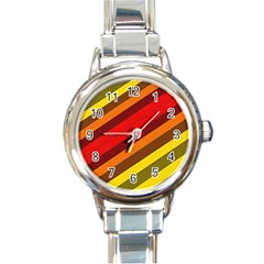 Abstract Bright Stripes Round Italian Charm Watch