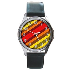 Abstract Bright Stripes Round Metal Watch