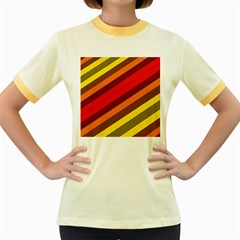 Abstract Bright Stripes Women s Fitted Ringer T-Shirts