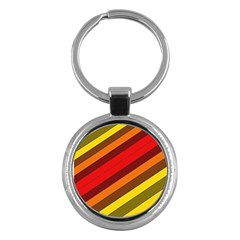Abstract Bright Stripes Key Chains (Round)