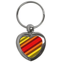 Abstract Bright Stripes Key Chains (heart)
