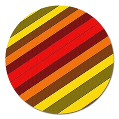 Abstract Bright Stripes Magnet 5  (round)