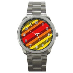 Abstract Bright Stripes Sport Metal Watch