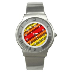 Abstract Bright Stripes Stainless Steel Watch