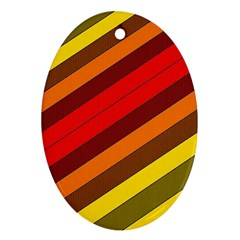 Abstract Bright Stripes Oval Ornament (Two Sides)