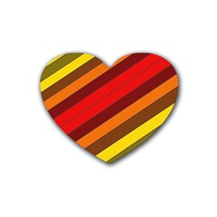 Abstract Bright Stripes Heart Coaster (4 Pack)