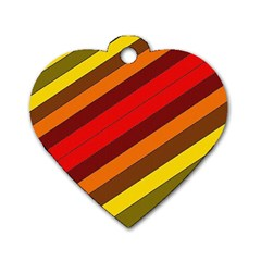 Abstract Bright Stripes Dog Tag Heart (One Side)