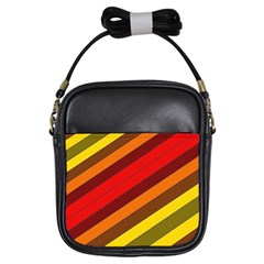 Abstract Bright Stripes Girls Sling Bags