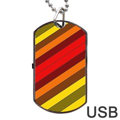 Abstract Bright Stripes Dog Tag Usb Flash (two Sides)