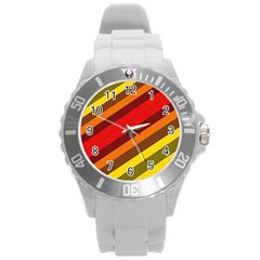 Abstract Bright Stripes Round Plastic Sport Watch (L)