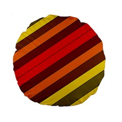 Abstract Bright Stripes Standard 15  Premium Round Cushions