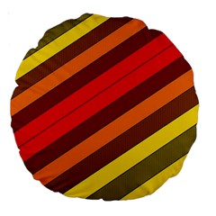 Abstract Bright Stripes Large 18  Premium Round Cushions