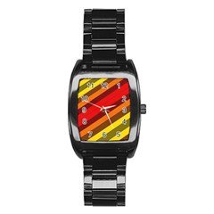 Abstract Bright Stripes Stainless Steel Barrel Watch