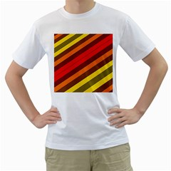Abstract Bright Stripes Men s T Shirt (white)