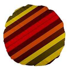 Abstract Bright Stripes Large 18  Premium Flano Round Cushions