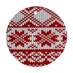 Crimson Knitting Pattern Background Vector Ornament (round)