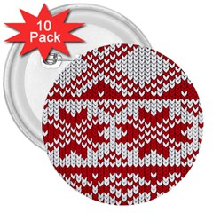 Crimson Knitting Pattern Background Vector 3  Buttons (10 pack)