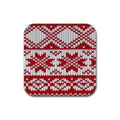 Crimson Knitting Pattern Background Vector Rubber Square Coaster (4 pack)