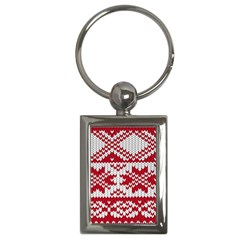 Crimson Knitting Pattern Background Vector Key Chains (rectangle)