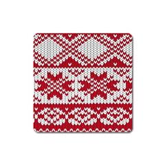 Crimson Knitting Pattern Background Vector Square Magnet