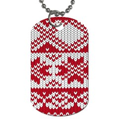 Crimson Knitting Pattern Background Vector Dog Tag (two Sides)