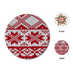 Crimson Knitting Pattern Background Vector Playing Cards (Round)