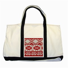 Crimson Knitting Pattern Background Vector Two Tone Tote Bag