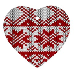 Crimson Knitting Pattern Background Vector Heart Ornament (two Sides)
