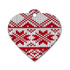 Crimson Knitting Pattern Background Vector Dog Tag Heart (Two Sides)