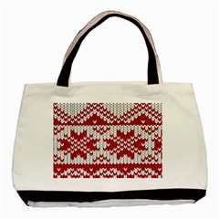 Crimson Knitting Pattern Background Vector Basic Tote Bag (Two Sides)