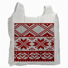 Crimson Knitting Pattern Background Vector Recycle Bag (One Side)