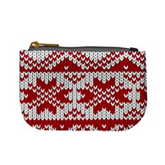 Crimson Knitting Pattern Background Vector Mini Coin Purses