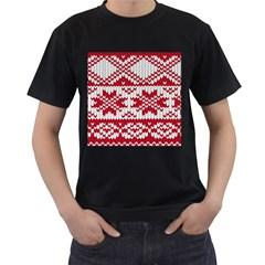 Crimson Knitting Pattern Background Vector Men s T Shirt (black)