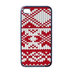 Crimson Knitting Pattern Background Vector Apple iPhone 4 Case (Black)