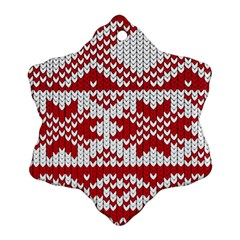 Crimson Knitting Pattern Background Vector Snowflake Ornament (Two Sides)