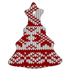 Crimson Knitting Pattern Background Vector Christmas Tree Ornament (Two Sides)