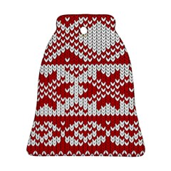 Crimson Knitting Pattern Background Vector Bell Ornament (two Sides)
