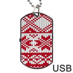Crimson Knitting Pattern Background Vector Dog Tag USB Flash (Two Sides)