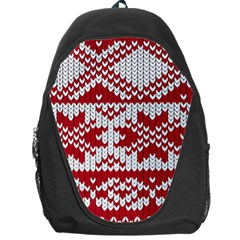 Crimson Knitting Pattern Background Vector Backpack Bag