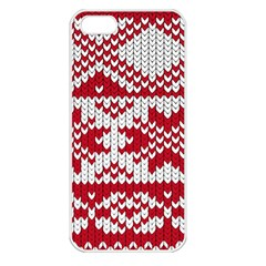 Crimson Knitting Pattern Background Vector Apple iPhone 5 Seamless Case (White)