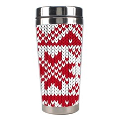 Crimson Knitting Pattern Background Vector Stainless Steel Travel Tumblers