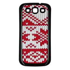 Crimson Knitting Pattern Background Vector Samsung Galaxy S3 Back Case (black)
