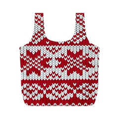 Crimson Knitting Pattern Background Vector Full Print Recycle Bags (M)