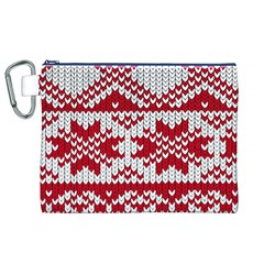 Crimson Knitting Pattern Background Vector Canvas Cosmetic Bag (xl)