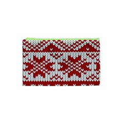 Crimson Knitting Pattern Background Vector Cosmetic Bag (xs)
