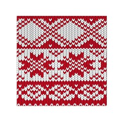 Crimson Knitting Pattern Background Vector Small Satin Scarf (Square)