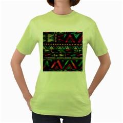 Cute Hipster Elephant Backgrounds Women s Green T-Shirt