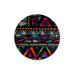 Cute Hipster Elephant Backgrounds Rubber Coaster (Round)